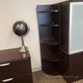 "72"" Espresso Corner Bookcase w/ Adjustable Shelves"