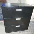 """Hon 36"""" Black 3 Drawer Lateral File Cabinet, Locking"""
