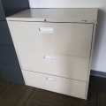 """Staples Grey 3 Drawer Lateral File Cabinet-Locking 18"""""""