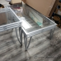 Brushed Nickel Metal Glass Coffee and End Table Set