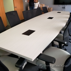 White 14 ft Boat Shaped Boardroom Meeting Table w/ Power Grommet
