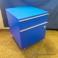 Blue 2 Drawer Rolling Pedestal Cabinet