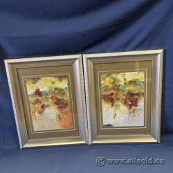 Framed Abstract Flower Print Set under Glass