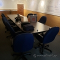 14ft Grey Boardroom Table w/ Rounded Corners