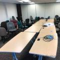 Blonde Modular Boardroom / Training Table w Grey Legs