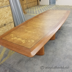 12 ft Maple Pattern Boat Shape Boardroom Conference Table