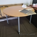 """46"""" Blonde Rolling Round Office Table with Locking Casters"""