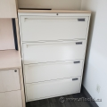 """36"""" White Steelcase 4 Drawer Lateral File Cabinet w/ Blonde Top"""