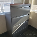 """36"""" Grey Steelcase 4 Drawer Lateral File Cabinet w/ Med Tone Top"""