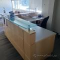 Blonde L-Suite Reception Desk w/ Transaction Counter & Storage