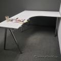 """White L Suite Galant Office Desk w/ Chrome Legs 79"""" x 63"""""""