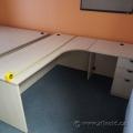 """Blonde L Suite Office Desk w/ Pedestal Drawer Storage 71"""" x 71"""""""