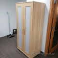 Blonde Ikea Aneboda 2 Door Storage Wardrobe with Frosted Windows