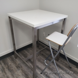 White Square Bistro Height Dining Table