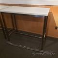 "Tall White Bistro Height Table / Chrome Frame 47"" x 24"""