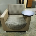Brown Fabric Sofa Armchair w/ Swivel Table & Cup Holder