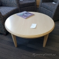 "32"" Round Blonde Coffee Table w/ Post Legs"