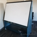Angled Whiteboard on Blue Rolling Cart