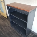 Charcoal 3 Shelf Bookcase Bookshelf w/ Maple Top