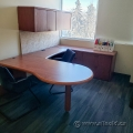 Maple U/C Suite Desk w/ LH Bullet and Overhead