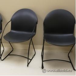 Black Plastic Office Guest Chair w/ Sleigh Base