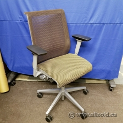 Steelcase Think Brown Mesh Back Cloth Seat Adj. Task Chair