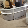 White and Grey Reception Sales Desk with Transaction Counter