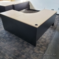 Black w/ Blonde Surface L-Suite Desk w/ 2 Drawer Pedestal 66x66