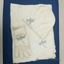Foxy Pacific Dragon Fly Diva Hat Scarf Glove White