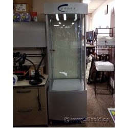 Grey Glass Display Case Cabinet w/ Built In Lights