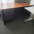 "60"" Maple and Dark Grey Straight Desk"