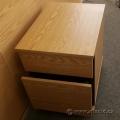 2 Drawer Oak Under Desk Pedestal File Cabinet