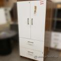Walnut w/ White Front 2 Door 2 Drawer Storage Cabinet, Locking