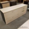 Blonde 2 Drawer 2 Door Storage Credenza, Locking
