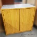 Blonde Oak 2 Door Storage Cabinet w/ Grey Top
