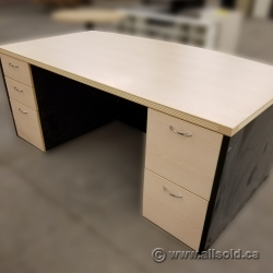 Blonde Bow Front Straight Desk with Dual Pedestals