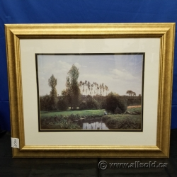 """Fishing In The Park"" Framed Print Under Glass Wall Art"