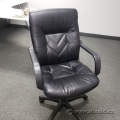 Black Leather Office Chair w/ Fixed Arms