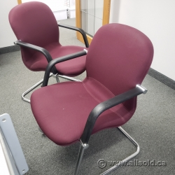 Red Office Guest Chair w/ Chrome Sleigh Base