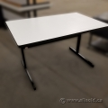 "48"" x 30"" White Training Table with Black Trim and Base"