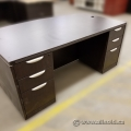 Espresso Executive Bow Front Dual Pedestal Desk w Knee Space
