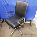 Allseating Zip Black Leather Meeting Guest Chair