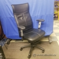 Black Leather High-Back Office Task Chair with Adj. Arms