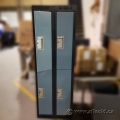 Blue and Grey 2 Tier Lockers (Bank of 4 doors)