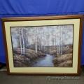"""A Creek Through Birch Trees"" Framed Print under Glass"
