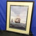 """Danish Ships on Rough Seas""  Print under Glass"