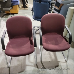 TWO Red Office Guest Chair w/ Chrome Sleigh Base