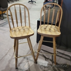 """Two Brown 29"""" Tall Swivel Bar Stool Guest Chair"""