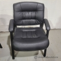 Black Leather Guest Chair w/ Fixed Arms