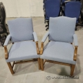 Two Blue Fabric with Wood Trim Guest Side Chair